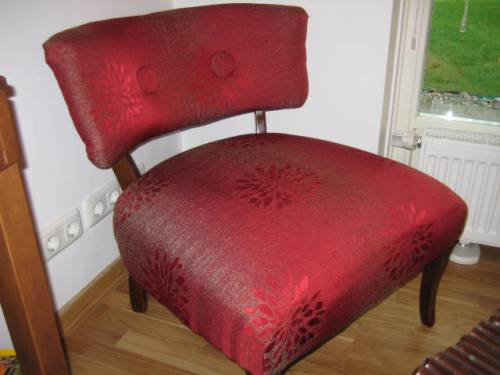 Mom's 60 year-old chair re-upholstered early 2009. It was lime green before.